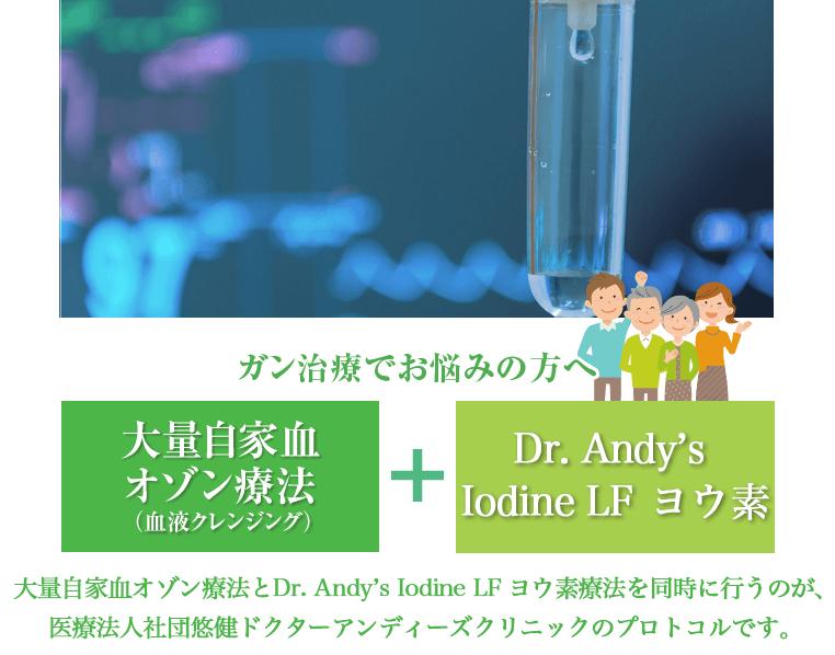 大量自家血オゾン療法とDr. Andy's Iodine LF ヨウ素治療
